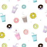 Café avec le modèle savoureux de beignet Illustration de casse-croûte de vecteur Copie mignonne avec la tasse et le gâteau Nourri Image libre de droits