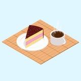 Café avec le morceau de gâteau Images stock
