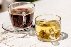 Café avec le thé Image stock