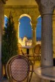 Café avec une vue à Budapest Photos stock