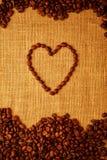Café Bean Heart Foto de archivo libre de regalías