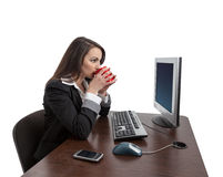 Café bebendo da mulher de negócios Foto de Stock