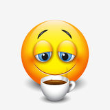 Café bebendo do emoticon sonolento bonito, emoji, smiley - vector a ilustração ilustração royalty free