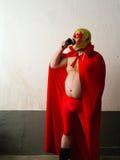 Café bebendo do lutador mexicano imagens de stock royalty free