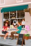 Café bebendo dos pares em um café exterior Imagem de Stock Royalty Free