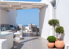 Café bei Santorini, Griechenland Lizenzfreies Stockbild