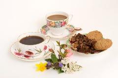 Café, bolo e biscoito Fotografia de Stock Royalty Free