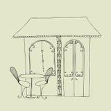 Café bonito ilustrado da rua ilustração royalty free