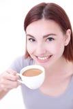 Café bonito novo da bebida da mulher Imagens de Stock Royalty Free