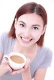 Café bonito novo da bebida da mulher Fotos de Stock Royalty Free