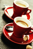 Café branco do café do copo Xícaras de café vermelhas Imagens de Stock