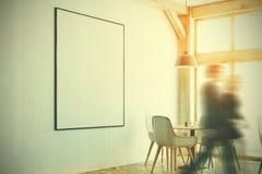 Café branco, janelas do sótão, cartaz, canto, pessoa Imagens de Stock Royalty Free