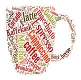 Café, café, cappuccino, macchiato, nuvem da palavra, nuvem t da etiqueta Fotografia de Stock Royalty Free