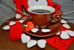 Café - café d'amour d'I - grains de café, café et chocolat Image stock