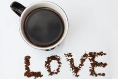 Café caliente hecho con amor Fotos de archivo