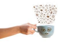 Café-caneca com ícones tirados mão dos meios Fotografia de Stock Royalty Free
