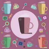 Café, caramelos y dulces para una tarjeta stock de ilustración