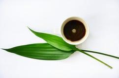 Café chaud avec la feuille. Photographie stock libre de droits