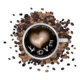 Café chaud avec la forme et amour Word de coeur Photo libre de droits