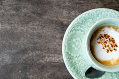 Café chaud, cappuccino chaud, expresso chaud, thé noir, coff noir Photos stock