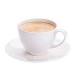 Café chaud d'americano en verre blanc sur le fond blanc Photos libres de droits
