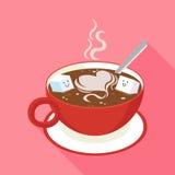 Café chaud dans la tasse rouge Images libres de droits