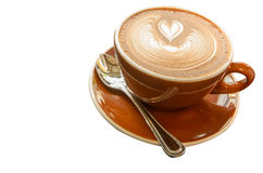 Café chaud de Mocca avec l'art de latte dans la forme de coeur Image libre de droits