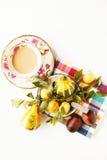 Café, chocolat et fruits Photographie stock libre de droits