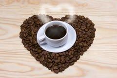 Café, coeur, grains de café Images libres de droits