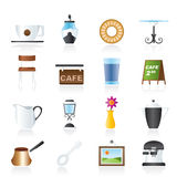 Café and coffeehouse icons. Vector icon set Royalty Free Stock Photos