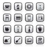 Café and coffeehouse icons. Vector icon set Royalty Free Stock Photography