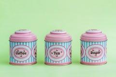 Café colorido, té, Sugar Tin Storage Containers imágenes de archivo libres de regalías