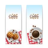 Café com as bandeiras do café da manhã das cookies ajustadas Fotos de Stock Royalty Free