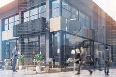 Café com circularmente e um sinal retangular, tonificado Imagem de Stock Royalty Free