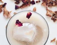 Café com gelo e as pétalas cor-de-rosa Imagem de Stock Royalty Free