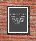 Café com os amigos escritos na moldura para retrato Fotos de Stock Royalty Free