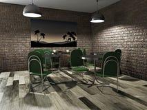 Café com tabelas verdes ilustração royalty free