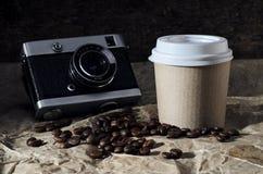 Café con la cámara Imagen de archivo