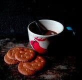 Café con la galleta Fotos de archivo