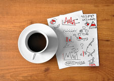 Café con la tableta digital Fotografía de archivo libre de regalías