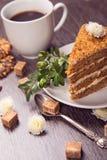 Café con la torta Imágenes de archivo libres de regalías