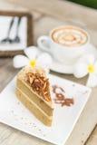 Café con la torta, taza de café - imágenes del estilo del efecto del vintage Imágenes de archivo libres de regalías