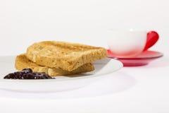 Café con la tostada y el atasco Fotos de archivo