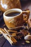 Café con las especias Imágenes de archivo libres de regalías