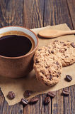 Café con las galletas deliciosas Foto de archivo libre de regalías