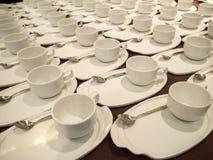 Café con leche/tazas de té para abastecer Foto de archivo libre de regalías
