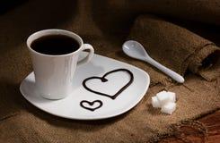 Café con los corazones Imágenes de archivo libres de regalías