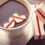 Café con los corazones Fotografía de archivo libre de regalías