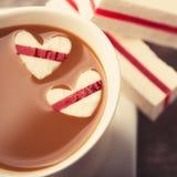 Café con los corazones Foto de archivo