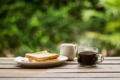 Café con pan Foto de archivo libre de regalías